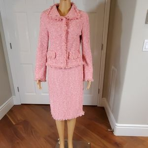 Escada 2pc  Pink Tweed Fringe Size 34